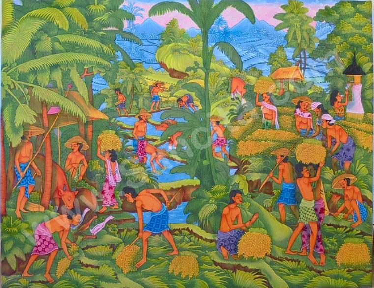 T-19 Lukisan Panen Padi Gaya Ubud - Sancita