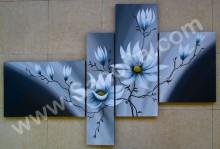 P4-49 Lukisan Minimalis Set / Panel Set Bunga Sallas