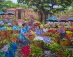 PS-034 Lukisan Pasar Bunga