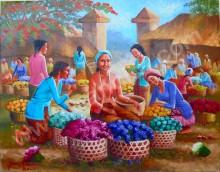 PS-035 Lukisan Pasar Bunga