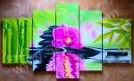 P5-12 Lukisan Minimalis Set Bunga Anggrek & Bambu