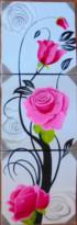 P3-48 Lukisan Minimalis Set Bunga Mawar