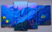 P4-52 Lukisan Panel Pemandangan Bawah Laut