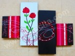 P4-50 Lukisan Minimalis Set Bunga Mawar