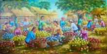 PS-038 Lukisan Pasar Bunga